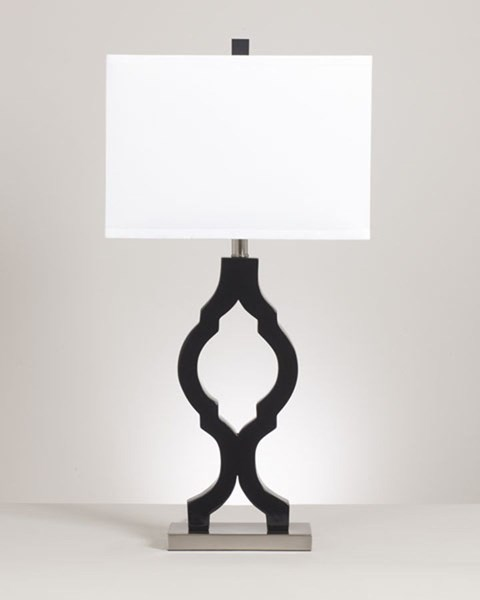 2 Rosetta Contemporary Black Silver Metal Poly Table Lamps L422294
