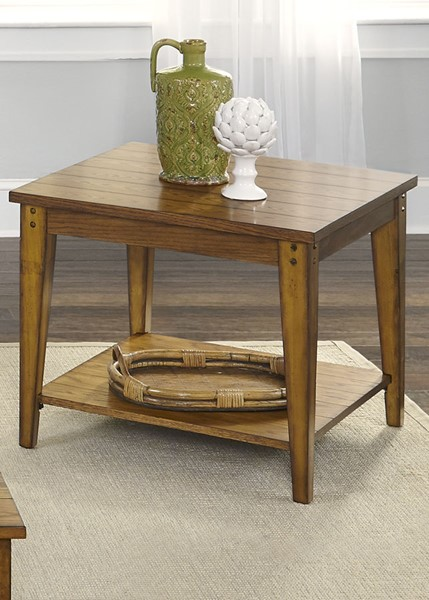 Liberty Lake House Oak Square Lamp Table LBRT-110-OT1023