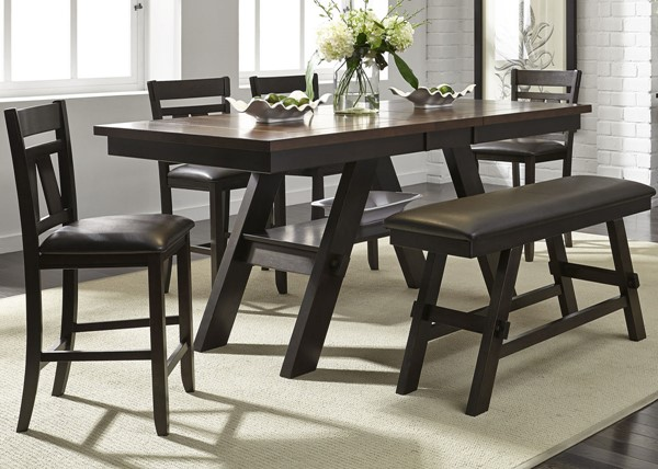 Liberty Lawson Espresso 6pc Counter Height Set With Bench LBRT-116-CD-6GTS
