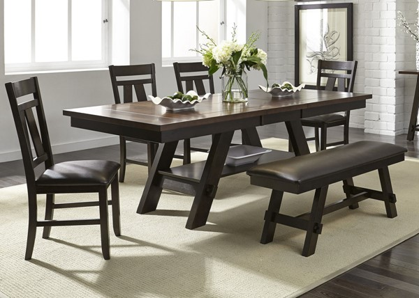 Liberty Lawson Expresso 6pc Dining Room Set with Bench LBRT-116-CD-6RTS