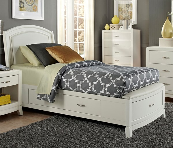 Liberty Avalon II Youth White Truffle One Sided Storage Beds LBRT-205-YBR-T1S-BED-VAR