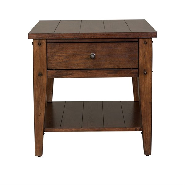 Liberty Lake House Rustic Brown Oak End Table LBRT-210-OT1020