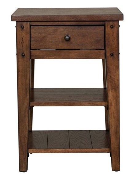 Liberty Lake House Rustic Brown Oak Chair Side Table LBRT-210-OT1021