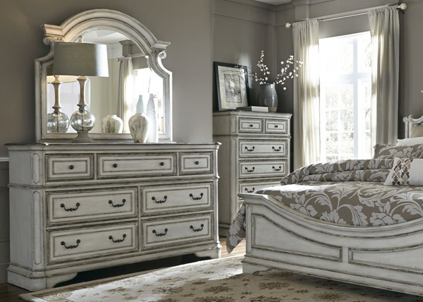 Liberty Magnolia Manor White Dresser and Mirror LBRT-244-BR-DM