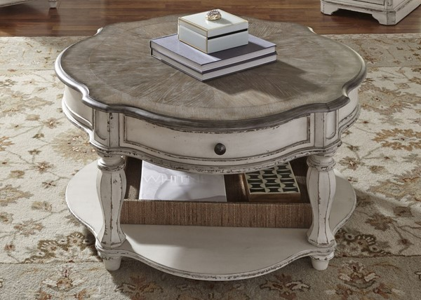 Liberty Magnolia Manor White Round Cocktail Table LBRT-244-OT1011