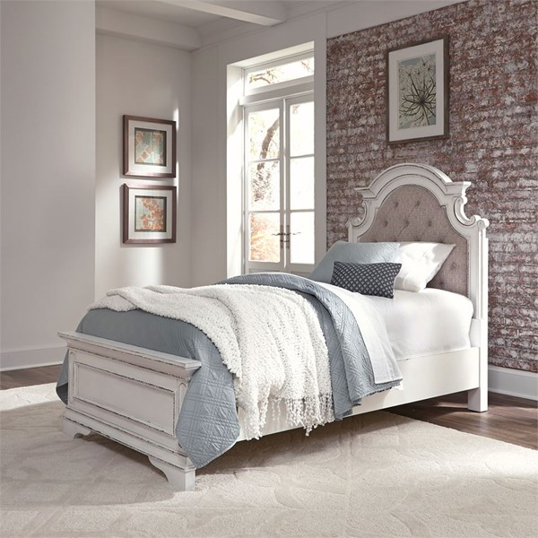 Liberty Magnolia Manor Antique White Upholstered Bed LBRT-244-TF-BED-VAR
