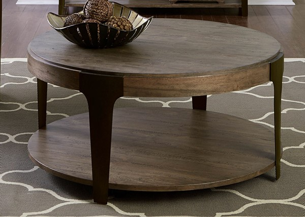 Liberty Sapphire Lakes Bark Sawcuts Charcoal Round Cocktail Table LBRT-255-OT1011