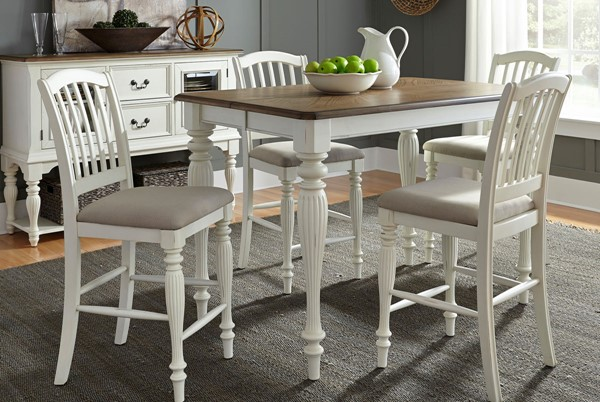 Liberty Cumberland Creek White 5pc Gathering Counter Table Set LBRT-334-CD-5GTS