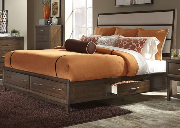 Liberty Hudson Square Espresso Two Sided Storage Beds LBRT-365-BR-Q2S-BED-VAR