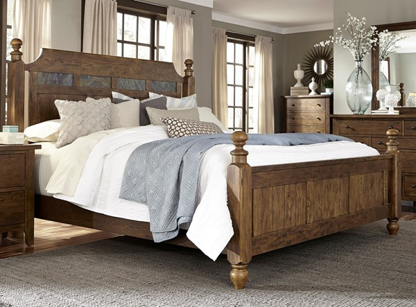 Liberty Hearthstone Rustic Oak Poster Beds LBRT-382-QPS-BED-VAR