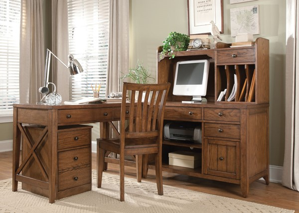 Liberty Hearthstone Rustic Oak Office Furniture Set LBRT-382-HO-CDS
