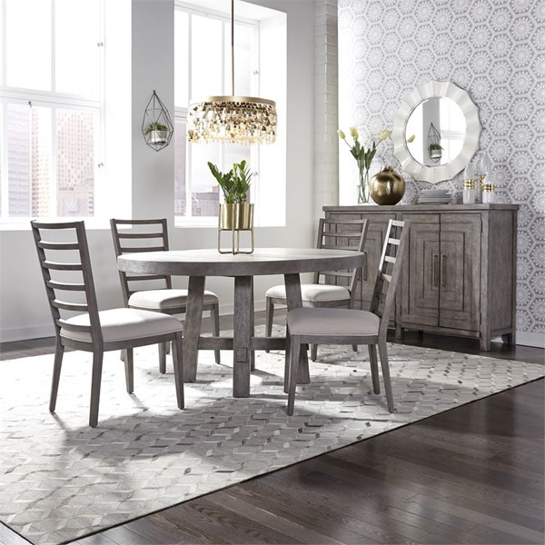 Liberty Modern Farmhouse Dusty Charcoal 5pc Round Dining Room Set LBRT-406-DR-5ROS