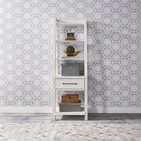 Liberty Modern Farmhouse White Leaning Bookcase LBRT-406W-HO201