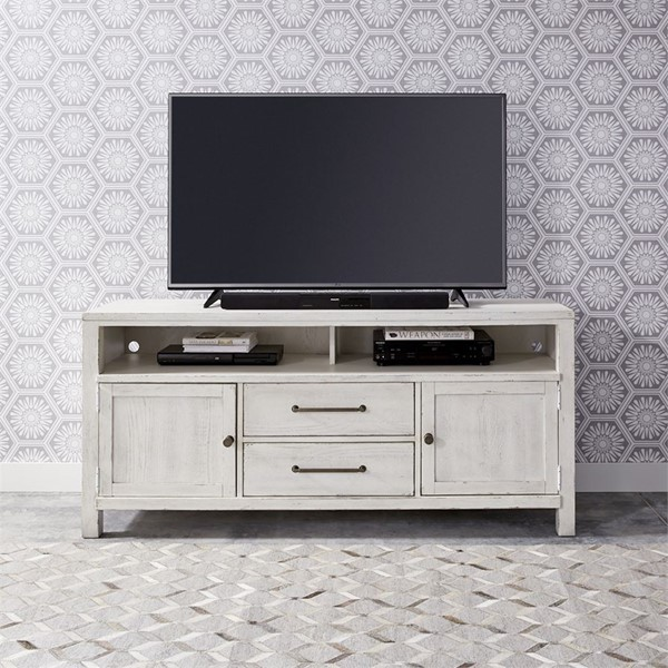 Liberty Modern Farmhouse White 66 Inch Entertainment Console LBRT-406W-TV66
