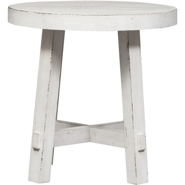 Liberty Modern Farmhouse White Splay Round End Table LBRT-406W-OT1024