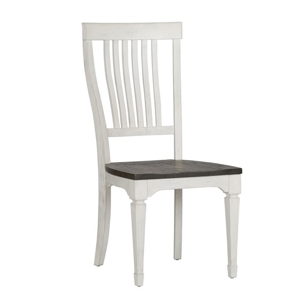 2 Liberty Allyson Park Brushed White Charcoal Slat Back Side Chairs LBRT-417-C1500S