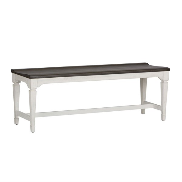 Liberty Allyson Park Brushed White Charcoal Wood Seat Bench LBRT-417-C9000B