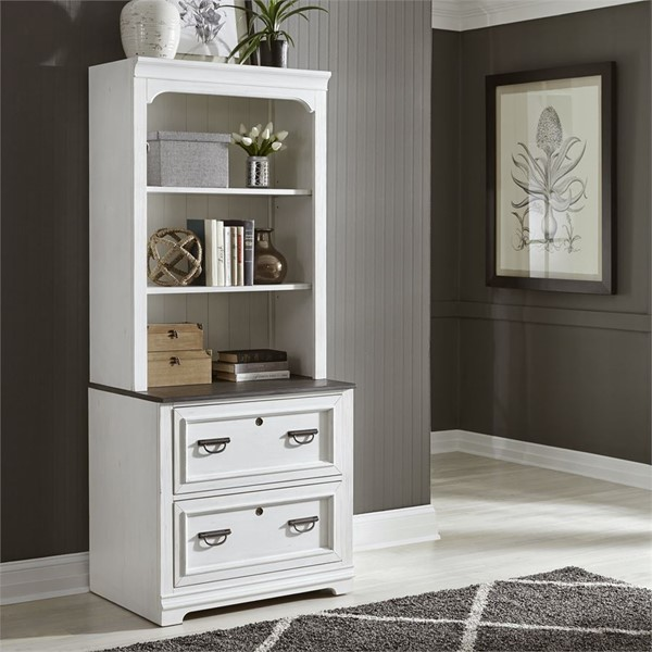 Liberty Allyson Park Wirebrushed White Bunching Lateral File Cabinet With Hutch LBRT-417-HO147-FC