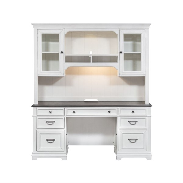 Liberty Allyson Park Wirebrushed White Credenza With Hutch LBRT-417-HOJ-CHS