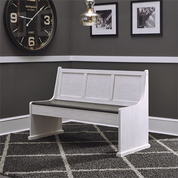 Liberty Allyson Park Brushed White Charcoal 56 Inch Nook Bench LBRT-417-NLB9000
