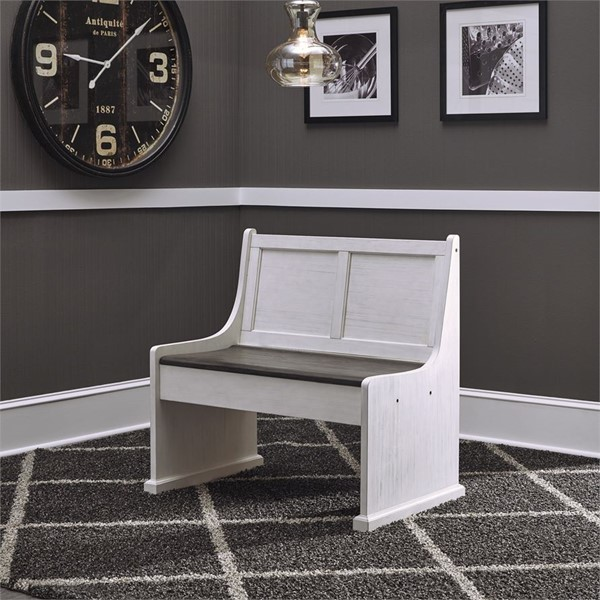 Liberty Allyson Park Brushed White Charcoal 37 Inch Nook Bench LBRT-417-NSB9000