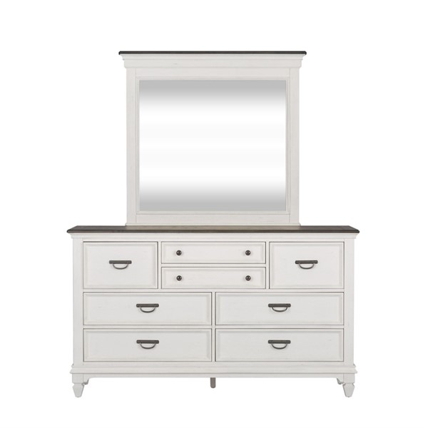 Liberty Allyson Park Wirebrushed White Dresser And Mirror LBRT-417-BR-DM