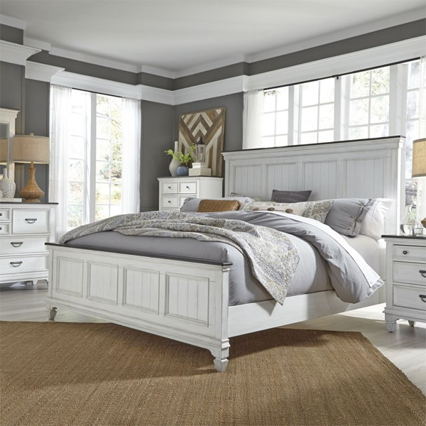 Liberty Allyson Park Wirebrushed White 2pc King Panel Bedroom Set LBRT-417-KPB-BR-S2