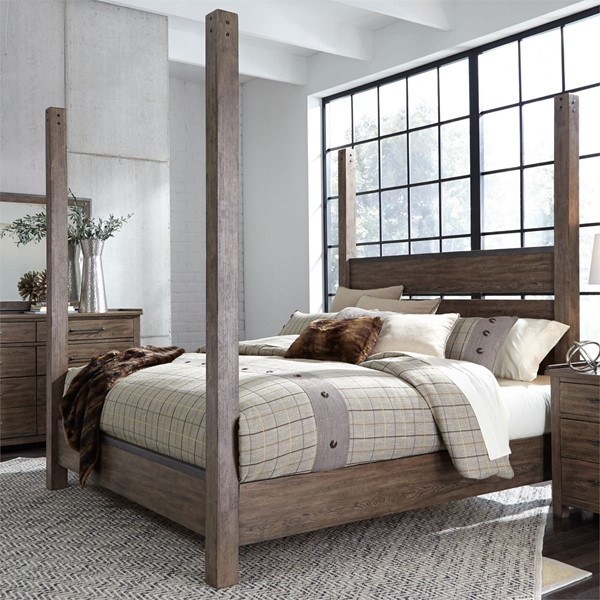 Liberty Sonoma Road Weather Beaten Bark King Poster Bed LBRT-473-BR-KPS