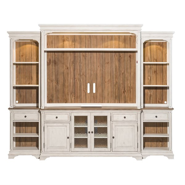 Liberty Morgan Creek White Tobacco Entertainment Center with Piers LBRT-498-ENTW-ECP