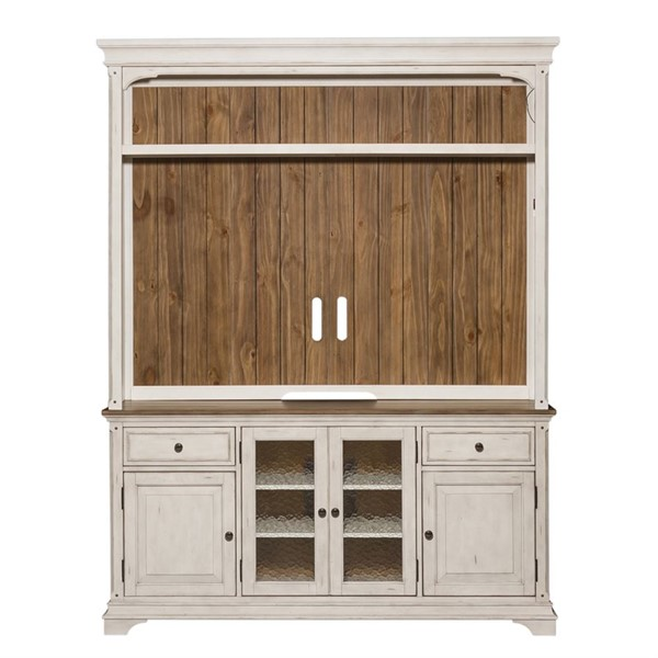 Liberty Morgan Creek White Tobacco Entertainment Center with Hutch LBRT-498-ENTW-ENC