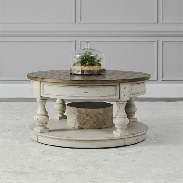 Liberty Morgan Creek White Tobacco Round Cocktail Table LBRT-498-OT1011