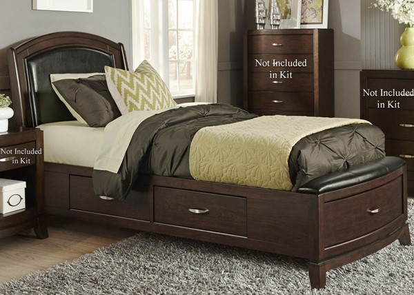 Liberty Avalon Youth Dark Truffle One Sided Storage Beds LBRT-505-YBR-T1S-BED-VAR