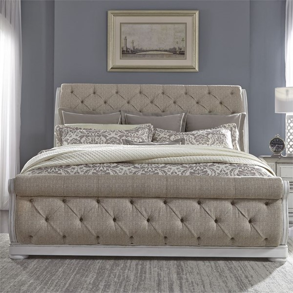 Liberty Abbey Park White Sleigh Bed LBRT-520-QUSL-BED-VAR