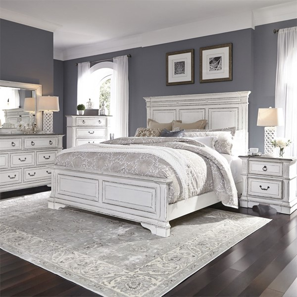 Liberty Abbey Park White 2pc King Panel Bedroom Set LBRT-520-KPB-BR-S2