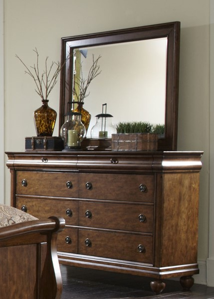 Liberty Rustic Traditions Cherry Dresser and Mirror LBRT-589-BR-DM