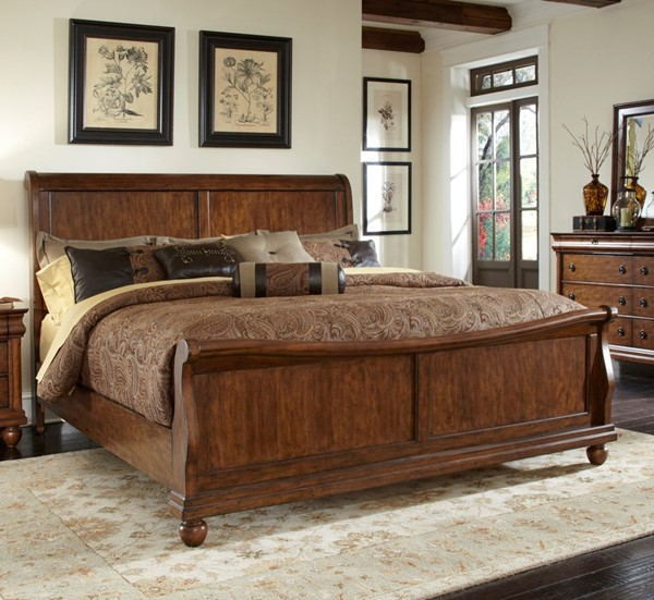 Liberty Rustic Traditions Cherry Sleigh Beds LBRT-589-BR-QSL-BED-VAR