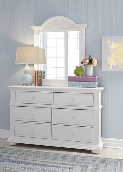 Liberty Summer House Youth Oyster White Dresser And Mirror LBRT-607-YBR-DM