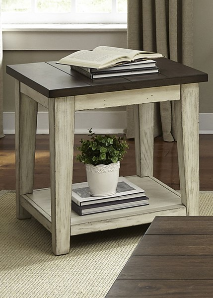 Liberty Lancaster Weathered Bark White End Table LBRT-612-OT1020