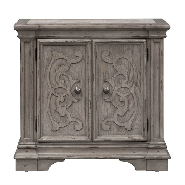 Liberty Grand Estates Gray Taupe Brown Door Bedside Chest LBRT-634-BR62