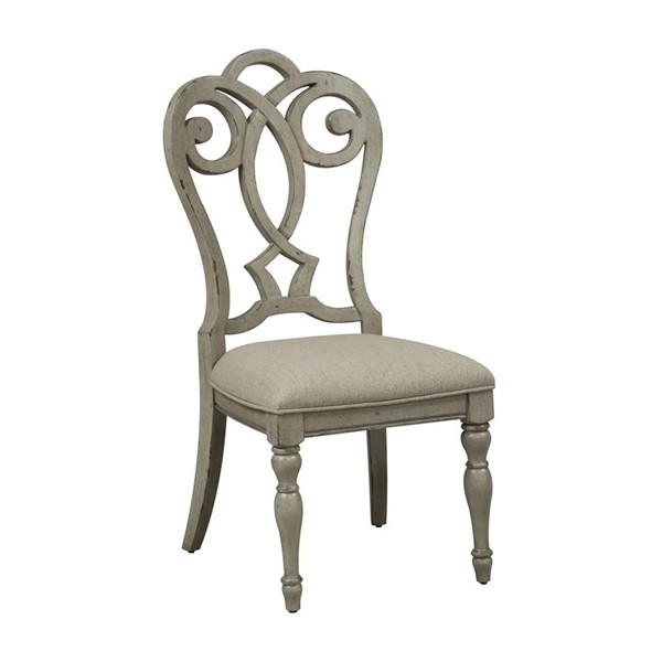 2 Liberty Grand Estates Gray Taupe Brown Splat Back Upholstered Side Chairs LBRT-634-C2501S