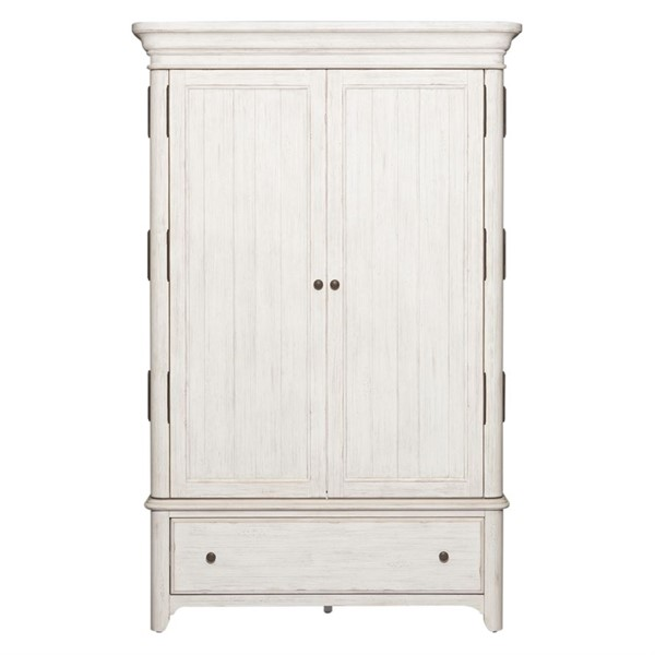 Liberty Farmhouse Reimagined White Armoire LBRT-652-BR-ARM