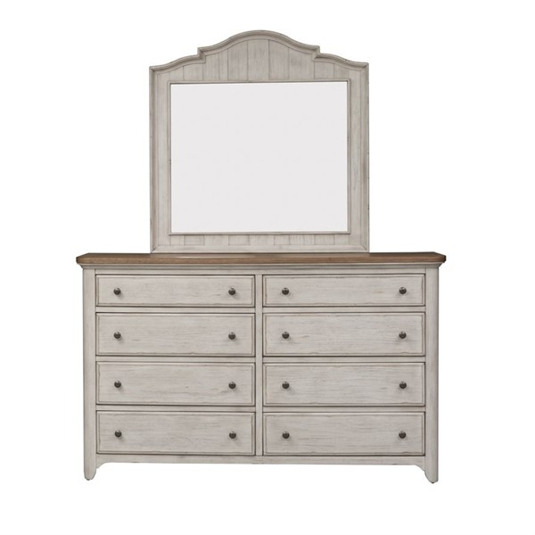 Liberty Farmhouse Reimagined White Dresser And Mirror LBRT-652-BR-DM
