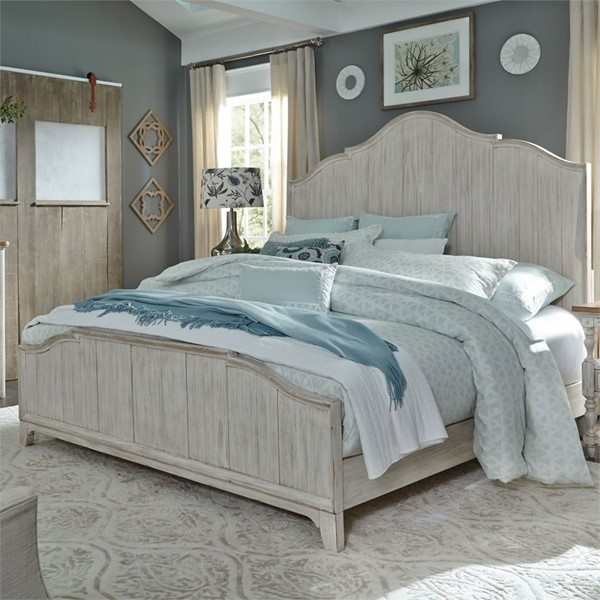 Liberty Farmhouse Reimagined White Panel Bed LBRT-652-QK-BED-VAR1