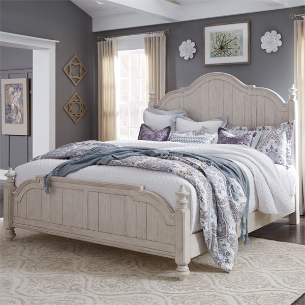 Liberty Farmhouse Reimagined White Poster Bed LBRT-652-QK-BED-VAR2