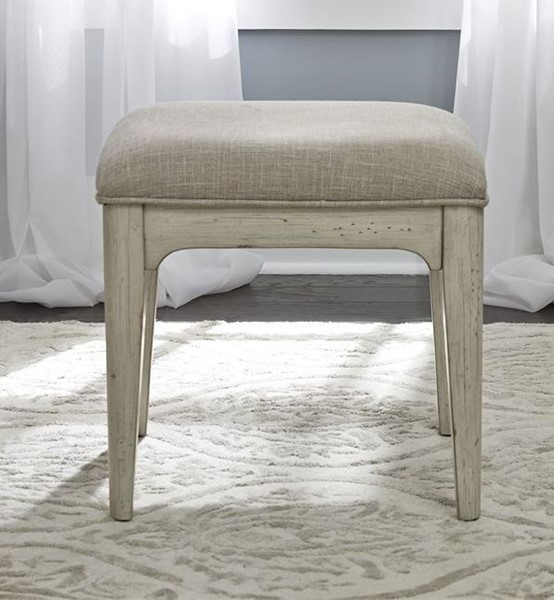 Liberty Farmhouse Reimagined White Vanity Stool LBRT-652-BR99