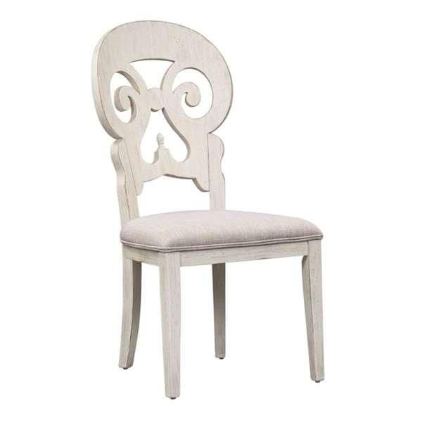 2 Liberty Farmhouse Reimagined White Chestnut Splat Back Side Chairs LBRT-652-C6501S