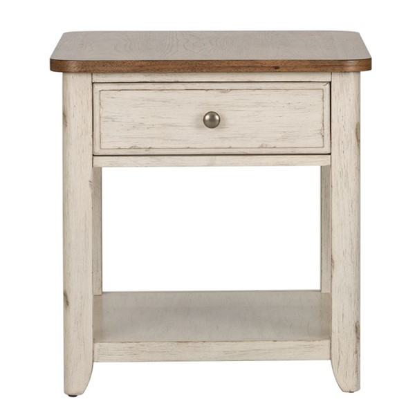 Liberty Farmhouse Reimagined Antique White End Table with Basket LBRT-652-OT1020