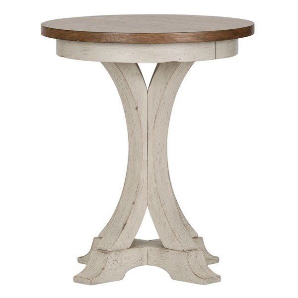 Liberty Farmhouse Reimagined Antique White Round Chair Side Table LBRT-652-OT1021