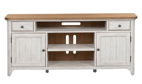 Liberty Farmhouse Reimagined White Chestnut Entertainment TV Stand LBRT-652-TV67