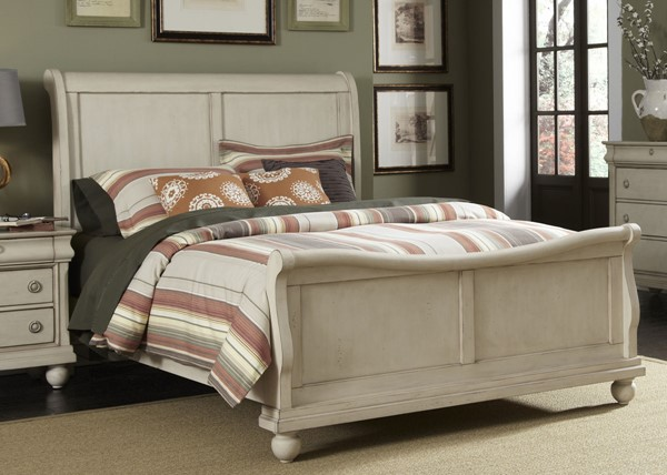 Liberty Traditions II White Sleigh Beds LBRT-689-BR-QSL-BED-VAR